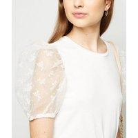 Petite Cream Floral Organza Puff Sleeve Top New Look