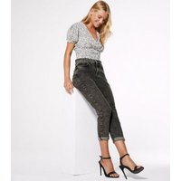 Petite Dark Grey Acid Wash Tori Mom Jeans New Look