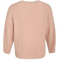 Curves Pale Pink Pointelle Knit Jumper New Look