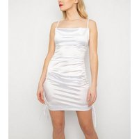 New Age Rebel White Satin Ruched Dress New Look