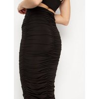 New Age Rebel Black Ruched Midaxi Skirt New Look