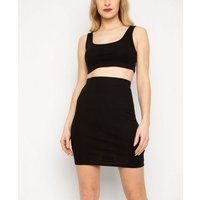 New Age Rebel Black Ribbed Tube Mini Skirt New Look