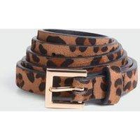 Stone Leopard Print Skinny Belt New Look