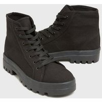 Black Canvas Chunky High Top Trainer Boots New Look