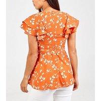Blue Vanilla Orange Leaf Print Wrap Top New Look