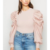 Cameo Rose Pale Pink Poplin Puff Sleeve Top New Look