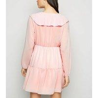 Cameo Rose Pale Pink Ruffle Chiffon Dress New Look