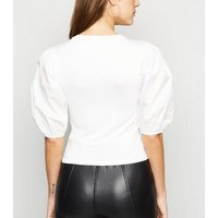 Cameo Rose White Poplin Puff Sleeve Top New Look