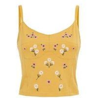 Yellow Daisy Embroidered Bralette New Look