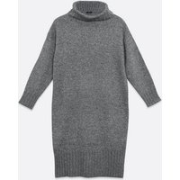 Petite Dark Grey Roll Neck Jumper Dress New Look