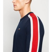Jack & Jones Navy Stripe Sleeve Jumper New Look