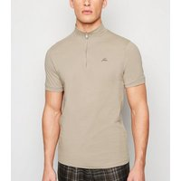 Jack & Jones Stone Zip Neck Polo Shirt New Look