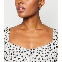 White Spot Ruched Sleeve Blouse New Look