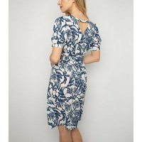 Cutie London Blue Leaf Print Dress New Look