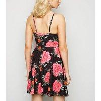 Black Floral Strappy Skater Dress New Look