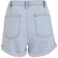 Blue Bleach Wash High Waist Denim Mom Shorts New Look