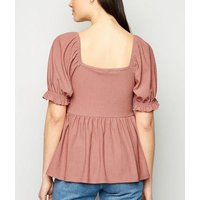 Coral Textured Puff Sleeve Peplum Top New Look