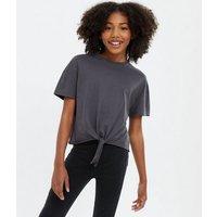 Girls Dark Grey Tie Front T-Shirt New Look