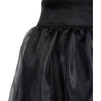 Black Organza Tiered Midi Skirt New Look