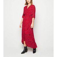 Mela Red Ditsy Floral Wrap Maxi Dress New Look