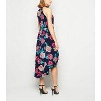 Mela Navy Floral High Neck Dip Hem Dress New Look