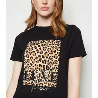Tall Black Animal Print Box Luxe Slogan T-Shirt New Look