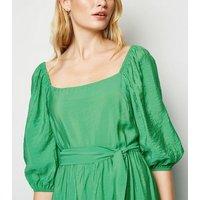 Green Puff Sleeve Tiered Midi Dress New Look