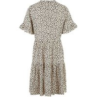 Tall White Spot Frill Sleeve Smock Dress New Look