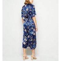 Mela Blue Floral Satin Kimono Jumpsuit New Look
