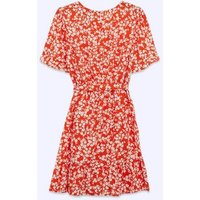 Petite Red Floral Ruffle Belted Dress New Look