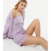 Lilac Jersey Tie Waist Shorts New Look