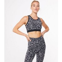 Grey Leopard Print Sports Bra New Look