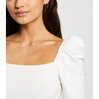 Petite White Square Neck Puff Sleeve Top New Look