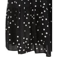 Black Spot Tiered Midi Skirt New Look