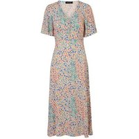Pink Ditsy Floral Button Front Midi Dress New Look