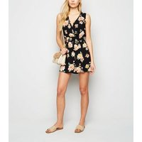Black Floral Shirred Waist Wrap Playsuit New Look