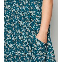 Apricot Curves Green Ditsy Floral Dress New Look