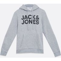 Jack & Jones Grey Logo Hoodie New Look