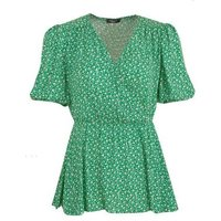 Curves Green Floral Puff Sleeve Peplum Top New Look