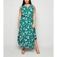 Apricot Curves Green Floral Midi Dress New Look