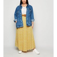 Apricot Curves Yellow Floral Belted Skirt New Look