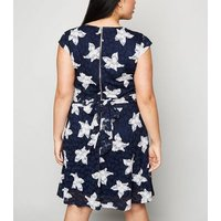 Apricot Curves Navy Floral Spot Lace Dress New Look