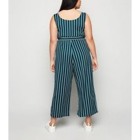 Apricot Curves Green Stripe Culotte Jumpsuit New Look