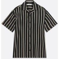 Men's Jack & Jones Black Stripe Short Sleeve Shirt New Look