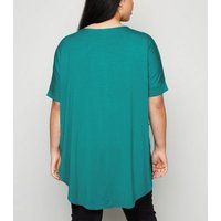 Apricot Curves Dark Green Oversized Top New Look