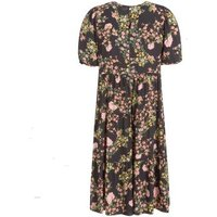 Curves Black Floral Puff Sleeve Midi Dress New Look