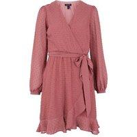 Mid Pink Chiffon Spot Tie Waist Wrap Dress New Look