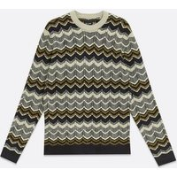 Men's Only & Sons Olive Chevron Jacquard Jumper New Look
