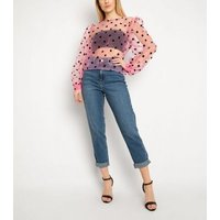 Gini London Pink Spot Organza Top New Look