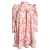 Gini London Pink Leaf Puff Sleeve Dress New Look